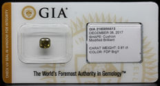 0.99 ct. GIA Certified Natural Fancy Deep Brown-Greenish Yellow Even, Diamond - NO RESERVE