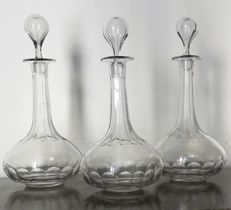 Set of 3 antique crystal decanters with Baccarat-like hand carvings