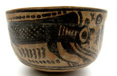 Indus Valley Painted Terracotta Bowl with Monkey Motif - 105 x 66 mm