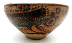Indus Valley Painted Terracotta Bowl with Monkey Motif - 110 x 59 mm