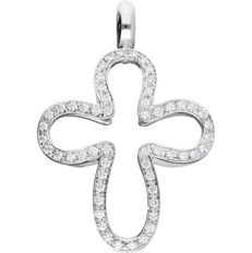 18 kt - White gold pendant in the shape of a cross, set with 56 round brilliant cut diamonds of approx. 0.56 ct in total - Length x width: 39 mm x 27 mm