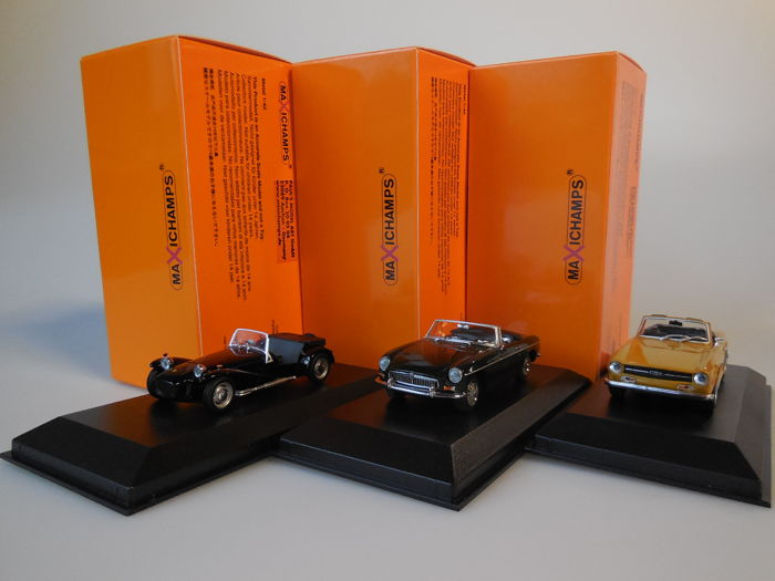 MaXichamps - Scale 1/43 - Lot with 3 British models: Lotus, MG & Triumph
