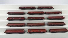 Märklin H0 - Amongst others , 4473 - Freight cars - 14 four-axle low sided boxcars of the DB