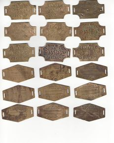 "Collection of 36 copper of ""Rijwielbelasting"" plaques from the Art Deco period"