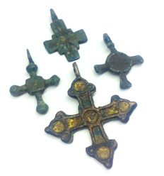 Early medieval bronze crosses, IX-XII century  24x18, 25x17, 26х18, 38х32 mm with enamel