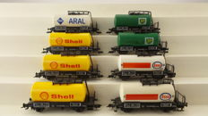 Fleischmann H0 - 5400/5401/5402/5403 - 8 piece tanker wagon set of the firms Esso/Shell/Aral/BP of the DB