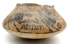 Indus Valley Painted Terracotta Jar with Bull Motif - 170 x 87 mm
