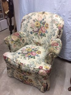 Vintage Armchair with Flower Pattern, circa 1940
