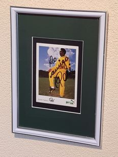Pelé  - hand signed old framed Puma photocard + COA