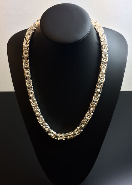 Silver king's braid link necklace 925, weight: 342.5 g, length: 59 cm, width: 10 mm