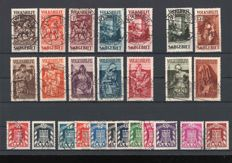 Saar region Volkshilfe 1931 and 1935, official stamps 1949.  3 sets.  Michel No.151-57, No. 199-205, No. D 33 – D44 verified BPP