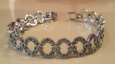 Lovely 925 silver Bracelet with marcasite