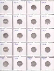 "Holland - collection of 20 pieces, various double ""wapenstuivers"" 1730/1790 - silver"