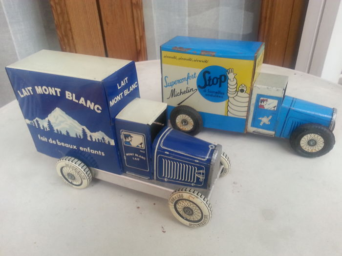 Two Vintage Tin Trucks - Lait Mont Blanc/Michelin promoting toys