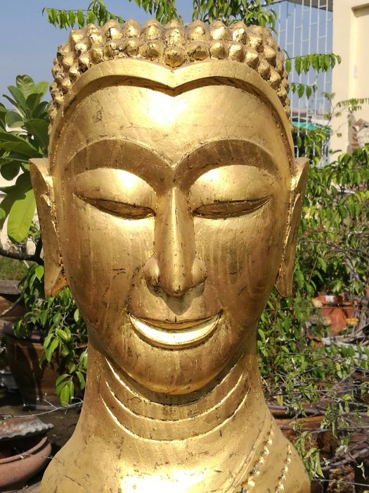 Wooden craving Buddha Head figure - Gilded with 24 krt gold. - Thailand