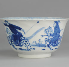 Large Qing Dynasty Hunter Bowl, Yu Marked - China  - 19th