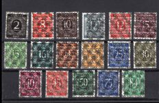 Allied occupation 1948 overprint , double print No. 52 II DD - 68 II DD and inverted overprint, verified.