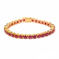 "6.00 ct gold tennis bracelet with rubies, 14.8 g ""No reserve'"