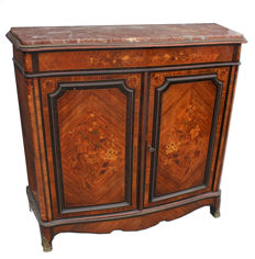 Napoleon III French sideboard made of polychrome wood with gilt bronze fittings and French red marble top - 19th century