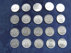 """Republic of Italy - 500 Lira """"Caravelle"""", 1958, 1959, 1960 and 1961 plus one """"Quadriga"""" centenary from 1961 (20 coins) - silver"""
