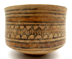 Indus Valley Painted Terracotta Bowl with Geometric Motif - 110x80 mm
