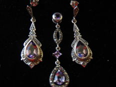 Antique silver set with amethyst and marcasite