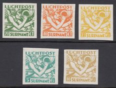 Suriname 1941 - head of Mercury - NVPH LP15/LP19, imperforate Proofs, with certificate