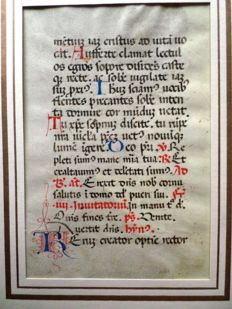 Manuscript; Illuminated page on vellum - c. 1400
