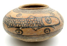 Indus Valley Painted Terracotta Jar With Fish Motif - 150x78 mm