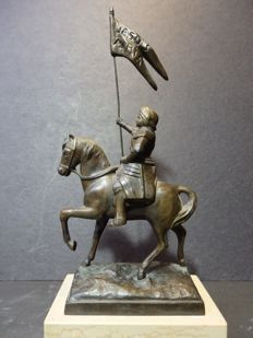 Miniature 'Jeanne d-Arc on horseback' in bronze - France - early 20th century