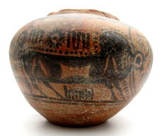 Indus Valley Painted Terracotta Jar with Bull Motif - 116 x 118 mm