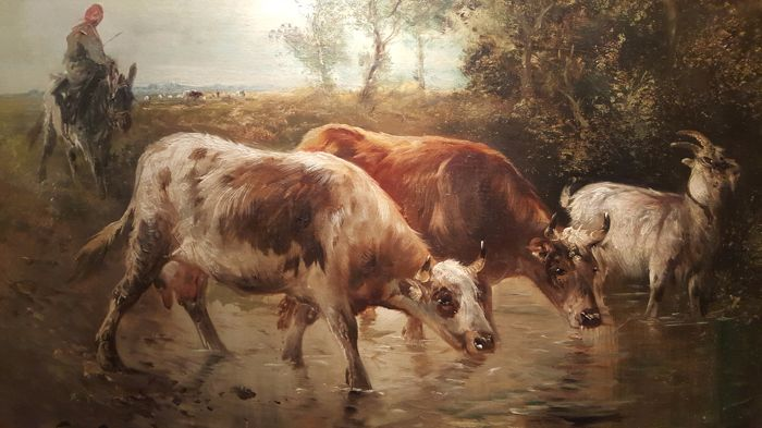 Schouten Henry (1857-1927) - Cows and goat in a waterhole