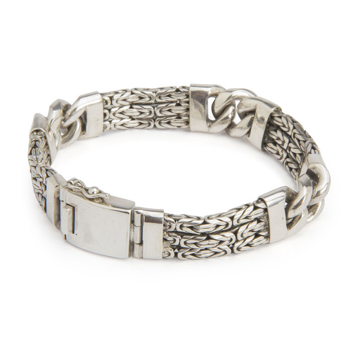 925/1000 sterling silver - men's bracelet - 91 grams - 22.5 cm (closed) - no reserve price