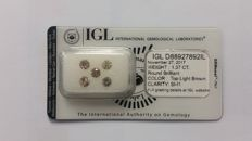 1.37ct 5 Diamonds Rounds  SI-I1 IGL -No Reserve