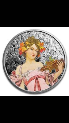 USA - Alfons Mucha (1860-1939) 'Collection Champagne White Star' - color edition - Osborne Mint - 1 oz silver