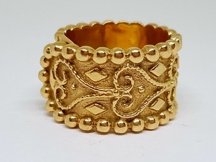 18 kt Solid Yellow Gold - Ring - 21 g - Size: 20 (Spain)