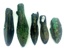 Ancient Illyrian, bronze arrowheads 23, 27, 34, 35, 40 mm (5)
