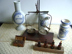 Apothecary scales, 1838-1936, A.J. Bakker Glasfabrieken, and others