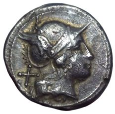 Roman Republic - Anonymous - AR Denarius (Silver, 19mm, 4,16gm), Rome mint after 211 BC - Head of Roma / Dioscuri - Cr. 44/5; Syd. 168