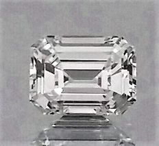 Emerald Cut - 0.64 carat - D color - IF clarity - 2 x EX - Natural Diamond Comes With Big IGL Certificate + Laser Inscription On Girdle