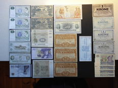 World - 27 Banknotes From Sweden, Denmark, Finland and French Guiana