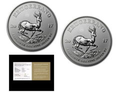 South Africa - two 1 Rand - two 1 oz 999 Krugerrand - 50 years Krugerrand Anniversary Edition - First Silver Krugerrand