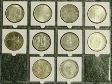 World - Lot containing various coins (Crownsize) 1873/1976 (10 pieces) - silver