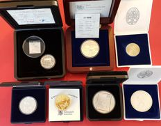 Netherlands - selection of commemorative coins and medals, 1979 to 2003 - copper nickel, silver, gilded silver