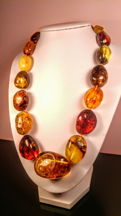 Mix colours Baltic Amber necklace, 104 grams