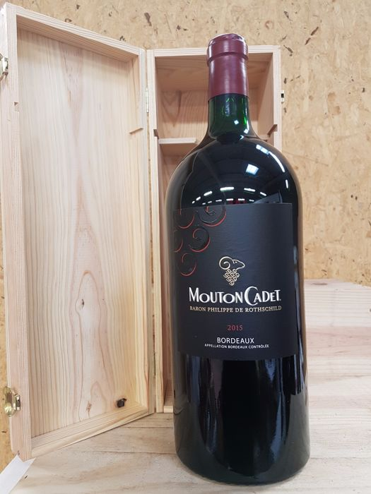2015 - Mouton Cadet - Bordeaux - Baron Philippe de Rothschild - 1 McKenzie (5.0l) in Wooden Box