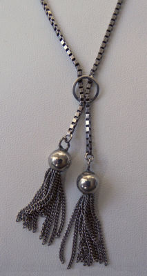 Signed F.N. - Art Deco tassel necklace - 835 silver