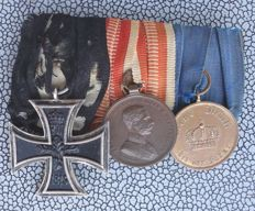 Order clasp for 3 medals EK 2 / F.J. Emperor of Austria / 12 years of faithful service / WW1