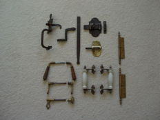 Old door handles, door latches, handles, hinges and locks
