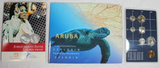 Aruba - 3 different coin sets 1993,  25 florins plus banknote of 5 florins 1990, 2005 Jubilee of Beatrix and coin set 1986